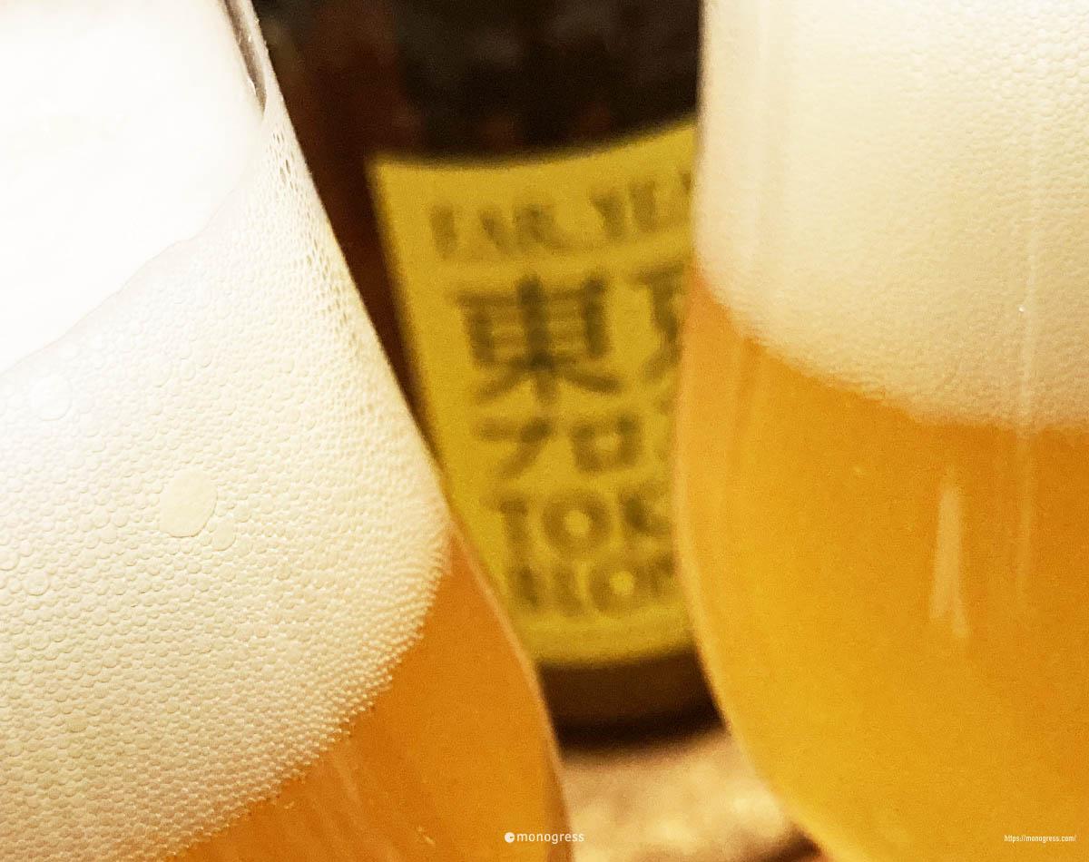美しく淡い琥珀色のビール