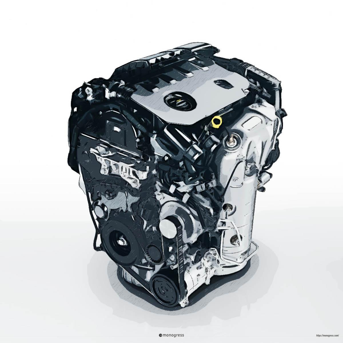 プジョーDV5RCエンジンのイラスト