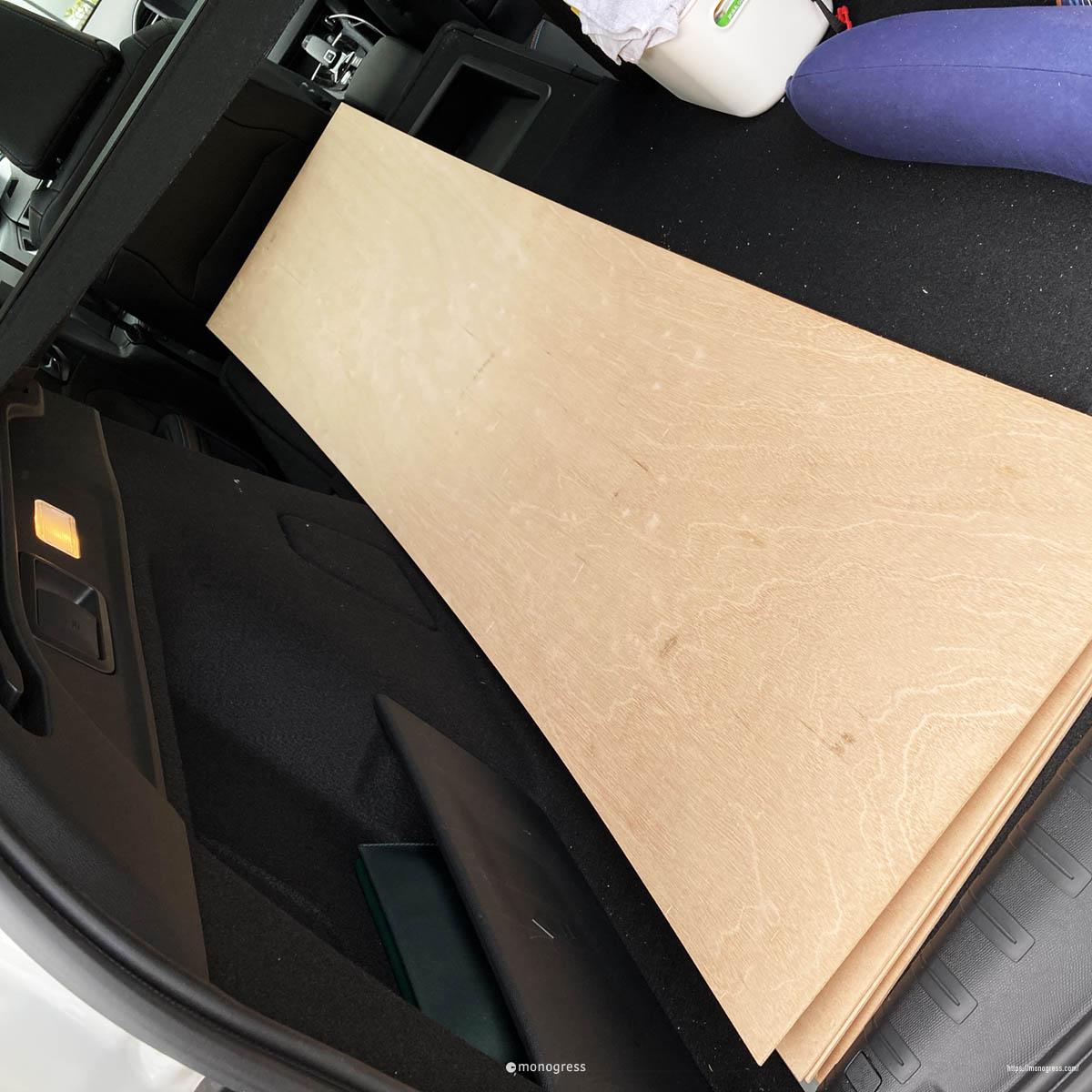 peugeot 308SW ラゲッジルームにベニヤ板を載せる