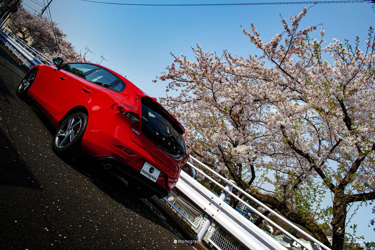 ボルボV40と桜